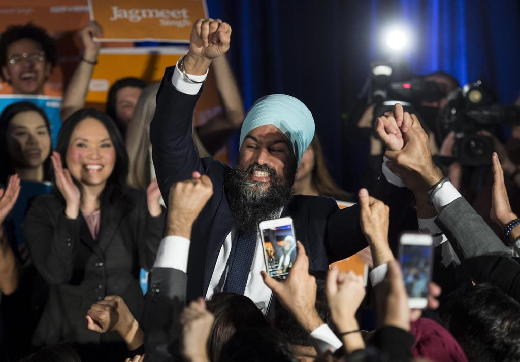 Jagmeet Singh celebrates after winning Burnaby South by-election