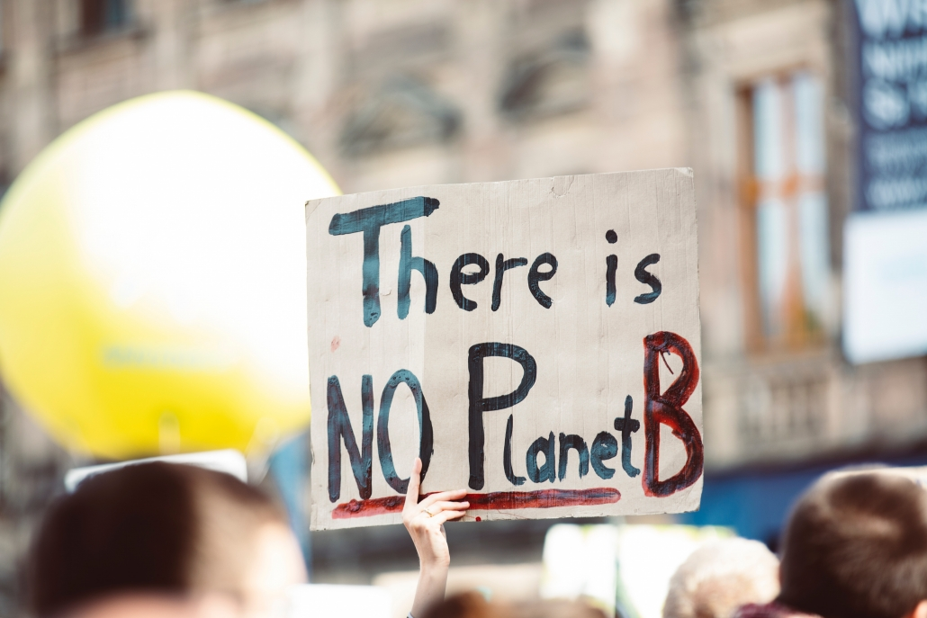 "Protest sign saying ""There is no Planet B"""