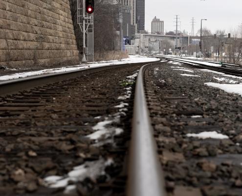 Train tracks near a city